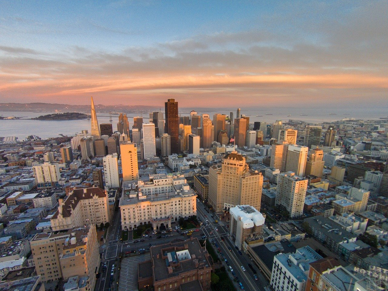 Sky line drone shot from San Francisco