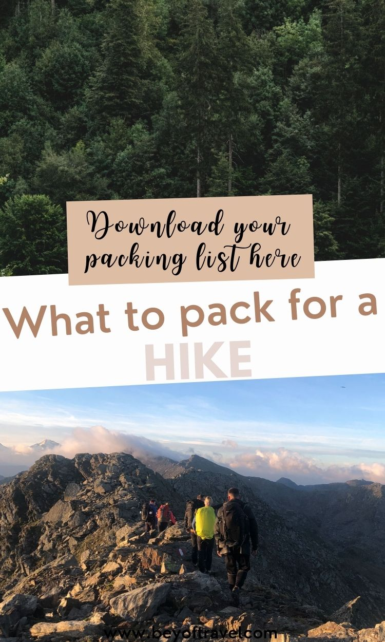 Hiking packing list - what to pack for a hike