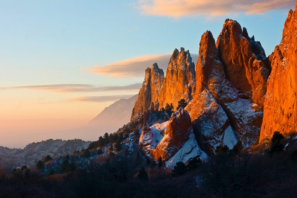 Most beautiful state US Garden of the Gods and skyline at dusk